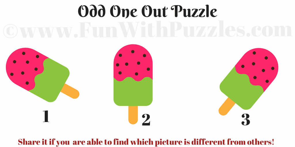 Odd One Out Ice-cream Picture Puzzle for Kids with Answer -Brain ...